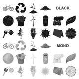 Значки био и экологичности черные в собрании комплекта для дизайна Экологически чисто сеть запаса символа вектора продукта бесплатная иллюстрация