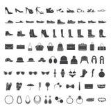 Значки ботинок и аксессуаров иллюстрация вектора