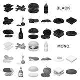 Значки бургера и ингридиентов черные в собрании комплекта для дизайна Бургер варя иллюстрацию сети запаса символа вектора иллюстрация штока