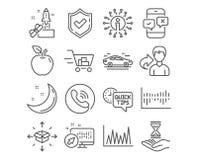 Значки быстрые подсказки, обзор корзины и телефона Пакетируйте знаки доставки, часов линии диаграммы и времени вектор иллюстрация вектора