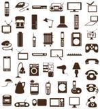 Значки бытовых приборов на белизне иллюстрация вектора