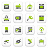 Значки бытовых устройств. Зеленая серая серия. Стоковое Изображение
