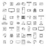 Значки бытовых устройств от тонких линий, иллюстрации вектора иллюстрация вектора