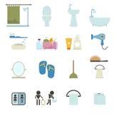 Значки ванной комнаты иллюстрация штока