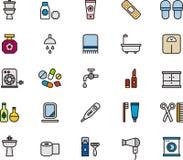 Значки ванной комнаты Стоковое Изображение