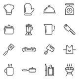 Значки варить и кухни стоковое изображение