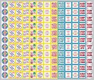 Значки валют, котировки акций, обменные курсы Стоковое фото RF