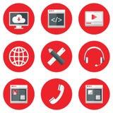 Значки вебсайта установленные над красным цветом Стоковая Фотография RF