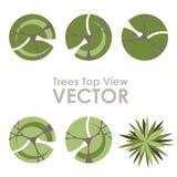 Значки вектора взгляд сверху деревьев Стоковая Фотография RF