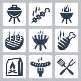 Значки вектора гриля и барбекю родственные Стоковое Изображение