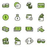 Значки вектора денег родственные стоковые изображения