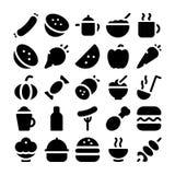 Значки 10 вектора еды Стоковое Фото