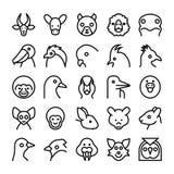 Значки 9 вектора животных и птиц Стоковые Фото