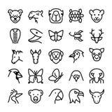 Значки 7 вектора животных и птиц Стоковое Изображение