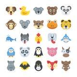 Значки вектора животных плоские бесплатная иллюстрация