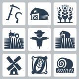 Значки вектора земледелия и сельского хозяйства Стоковое Изображение RF