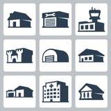 Значки вектора зданий, равновеликий стиль #3 Стоковое фото RF
