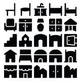 Значки 11 вектора здания & мебели Стоковое фото RF