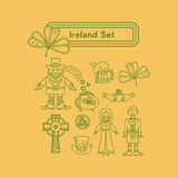 Значки вектора Ирландии линейные Стоковые Фото