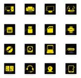 Значки вектора компьютерного оборудования простые Стоковые Изображения RF