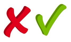 Значки вектора красные и зеленые контрольной пометки Стоковое Изображение RF