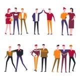 Значки вектора людей друзей плоские иллюстрация штока