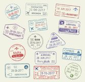 Значки вектора мира штемпелей пасспорта города путешествуют Стоковые Изображения