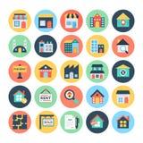 Значки 1 вектора недвижимости Стоковое Изображение