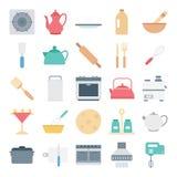 Значки вектора оборудования кухни изолированные цветом иллюстрация штока