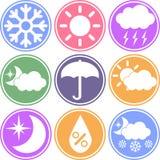 Значки вектора погоды на покрашенной предпосылке Стоковое Изображение