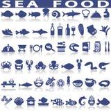 Значки вектора продукта моря родственные Стоковое Изображение