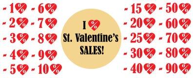 Значки вектора продаж дня валентинки Стоковое Изображение