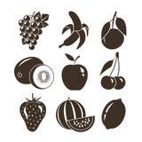 Значки вектора плодоовощей изолированные на белой предпосылке Стоковая Фотография