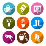 Значки вектора садовничая - комплект инструментов Стоковое Изображение