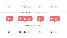 Значки вектора совершенные для социального дизайна средств массовой информации Элегантные социальные значки средств массовой инфо Стоковая Фотография RF
