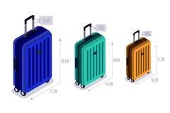 Значки вектора стипендии багажа изолированные равновеликие Проверенный багаж, продолжает и ручной багаж для путешествовать воздуш иллюстрация штока