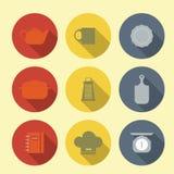 Значки вектора с мебелью кухни Стоковое Изображение