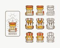 Значки вектора с рюкзаками для пешего туризма стоковое фото