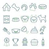 Значки вектора установили для создания infographics связанного с собаками, как воротник, еда, шар, игрушка, гребень или кровать иллюстрация вектора