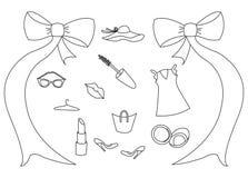 Значки вектора установили одежды и аксессуаров ` s женщин Комплект нарисованных рукой деталей красоты и здоровья иллюстрация штока