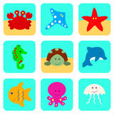 Значки вектора установили с персонажами из мультфильма моря и океана Стоковое Изображение RF