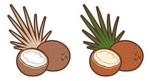 Значки вектора установленные кокоса с лист ладони иллюстрация вектора