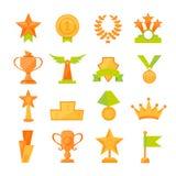 Значки вектора установленные золотого спорта награждают чашки в современном плоском стиле Стоковая Фотография