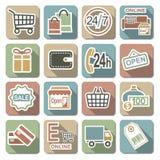 Значки вектора ходя по магазинам плоские Стоковое Изображение