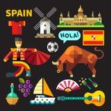 Значки вектора цвета и иллюстрации Испании Стоковое Изображение