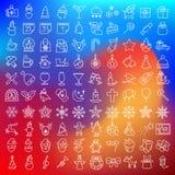 Значки вектора чистые плоские установили для holydays рождества Стоковое Изображение RF