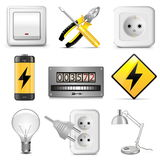 Значки вектора электрические Стоковое фото RF