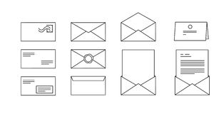 Значки вектора для конвертов компьютера с письмами Стоковые Фото