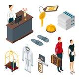 Значки вектора 3d обслуживаний гостиницы равновеликие, набор элементов дизайна Штат, аксессуары ливня, багаж, элементы уединения  бесплатная иллюстрация