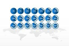 Значки вектора infographic с картой мира 5 10 15 20 25 30 35 40 45 50 55 60 65 70 75 80 85 90 95 100 долевых диограмм 0 процентов иллюстрация вектора